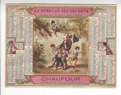 CHROMO AU BONHEUR DES ENFANTS CHAUFOUR PASSAGE DU SAUMON PARIS CALENDRIER 1880 CALENDAR /FREE SHIPPING R - Calendarios