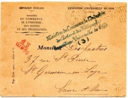 PARIS  EXPOSITION UNIVERSELLE 1900 =  FLAMME BICKERDIKE DRAPEAU + FRANCHISE MINISTERE Du COMMERCE - Marcofilia (sobres)