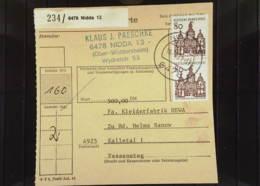 BRD: Paket-Kartenstammteil Mit 80 Pf Dt. Bauwerke Im Senkr. Paar Aus 6478 Nidda (234) 16.6.71 Knr: 461 (2) - BRD