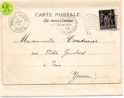 PARIS  EXPOSITION UNIVERSELLE 1900 =  FLAMME BICKERDIKE DRAPEAU + VILLAGE SUISSE - Marcophilie (Lettres)