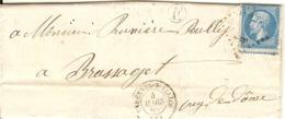 L De Varennes Sur Allier(Allier) Avec Boite Rurale E -Rongeres - L Du Maréchal Ferrand Demandant Le Prix Du Charbon-1865 - 1849-1876: Période Classique