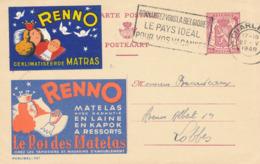 234/30 - VIGNETTES Belgique - Entier Publibel 737 Matelas Renno + Vignette Idem - CHARLEROI 1948 Vers LOBBES - Enteros Postales