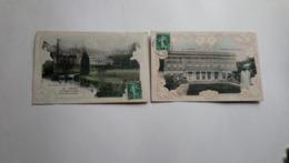 27 Vernon Chateau De Bizy Façade Un Coin Du Parc 1908  Décor Gaufré  Lot  2 Cartes - Vernon
