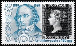 T.-P. Gommé Neuf** Sesquicentenaire De L'émission Du Premier Timbre-poste Sir Roland Hill  N° 1719 (Yvert) - Monaco 1990 - Monaco
