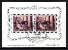 LIECHTENSTEIN BLOCK 4 GESTEMPELT(USED) 4. LIECHTENSTEINISCHE BRIEFMARKENAUSSTELLUNG VADUZ 1946 - Blocks & Kleinbögen