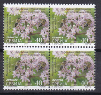 Serbia 2019 Flora Flowers Medicinal Plants Sedum Spectabile Native China Korea Insects Honeybees Bees Block Of 4 MNH - Honeybees