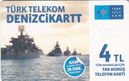 TURKEY - Denizci Kart (Soldier Cards) , Mart 2016, C.H.T. - CHT05 , 4 ₤ - Turkish Lira ,09/13, Used - Turquie