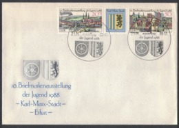 IA46   Germany 1988 Chemnitz And Erfurt - Wappen, Coat Of Arms, Armoiries On Envelope And Special Postmark - Briefe U. Dokumente