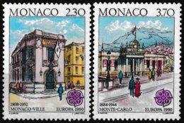 Série De 2 Timbres-poste Gommés Neufs** - Europa Bâtiments Postaux D'hier - N° 1724-1725 (Yvert) - Monaco 1990 - Monaco