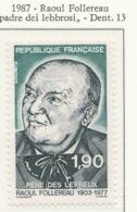 "PIA - FRA - 1987 : Omaggio A  Raoul Follereau ""Padre"" Dei Lebbrosi  - (Yv  2453) - Malattie"