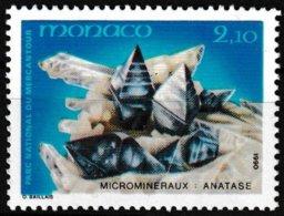 Timbre-poste Gommé Neuf** - Microminéraux Du Parc Du Mercantour Anatase - N° 1730 (Yvert) - Principauté De Monaco 1990 - Monaco