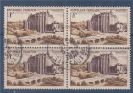 = Château De Châteaudun  N°873 Bloc De 4 Oblitéré 8f Brun-violet Et Brun - Oblitérés