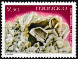 Timbre-poste Gommé Neuf** - Microminéraux Du Parc Du Mercantour Albite - N° 1731 (Yvert) - Principauté De Monaco 1990 - Monaco