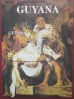 Guyana 1993 Christmas Drawing Painting Art Nativity Jesus Celebrations Religions Painting S/S Stamp CTO - Guyana (1966-...)