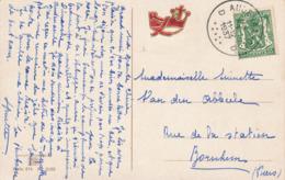 237/30 - VIGNETTES Belgique - RARE Sigle Du  Parti REX S/Carte Fantaisie TP Petit Sceau AUDENAARDE 1937 Vers BORNHEM - Guerre 40-45