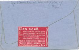 238/30 - VIGNETTES Belgique - RARE Vignette Du Parti REX S/Enveloppe TP Col Fermé HUY 1935 Vers IXELLES - Guerre 40-45