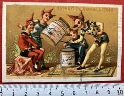 LIEBIG CHROMO LUTINS 1880's IMAGE PUBLICITÉ TESTU & MASSIN PARIS CAPITAL 12 MILLIONS COMPAGNIE URUGUAY CIRQUE ACROBATES - Liebig