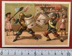 LIEBIG CHROMO DUEL CHEVALIERS 1880's IMAGE PUBLICITÉ TESTU & MASSIN PARIS CAPITAL 12 MILLIONS COMPAGNIE EXTRAIT VIANDE - Liebig