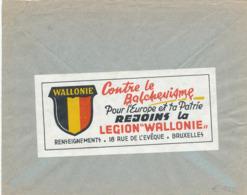 239/30 - VIGNETTES Belgique - RARE Vignette Légion Wallonne S/Enveloppe En Franchise Ortskommandatur MONS 1941 - Guerre 40-45