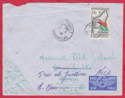Republique Malgache Cachet ; Obitération Diégo Suarez.Sur Lettre N°339 Seul Pour Nancy ( Barré ) Nice - Madagascar (1889-1960)