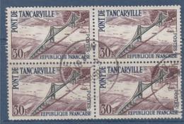 = Inauguration Du Pont De Tancarville N°1215 Bloc De 4 Oblitéré 30f Bistre, Vert Et Bleu - Oblitérés