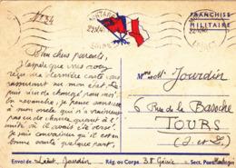 CARTE DE FRANCHISE MILITAIRE GUERRE WW2 Le 22 Mai 1940 Lieutenant Jourdin 38° Génie à Montargis (45) - Guerre 1939-45