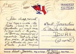CARTE DE FRANCHISE MILITAIRE GUERRE WW2 Le 14 Mai 1940 Lieutenant Jourdin 38° Génie à Montargis (45) - Guerre 1939-45