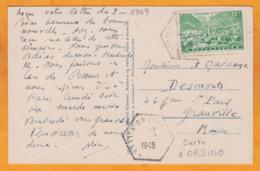 1949 - CP D'Ordino Vers Granville, Manche, France - YT 132- 12 F  Vert Andorre La Vieille Seul - Vue Les Escaldes - Lettres & Documents