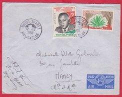 Republique Malgache Cachet  Année 1960 ; Obitération Diégo Suarez.Sur Lettre  N°355 ; 346 Pour Nancy - Madagascar (1889-1960)