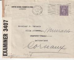 Lettre Grande Bretagne Pour Suisse Avec Censure Reich Allemand , 1942 - 1902-1951 (Re)