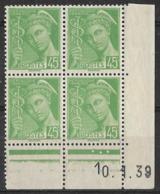 France - 1938/41 - Coin Daté 10/1/39 - Type Mercure 45c. Vert-jaune - Y&T N° 414 **  Neuf Luxe ( 1er Choix) - Coins Datés