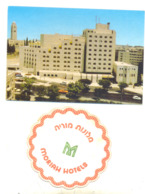 JERUSALEM MORIAH HOTEL YEAR 1991 POSCARD AND PAD FOR GLASS HOTEL MORIAH - Israel