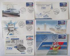 6 Enveloppes Et Cartes Philatéliques - TGV ATLANTIQUE SNCF - Baptême Et Inauguration NANTES - 1989 / 1990 - FDC
