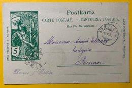 9145 -  Jubilé UPU Les Breuleux 15.10.1900 Pour Renan - Entiers Postaux