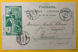 9146 -  Jubilé UPU Les Breuleux 10.3.12.1900 Pour Renan - Entiers Postaux