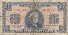 PAYS-BAS 2 1/2 GULDEN 1945 VG+ P 71 - [2] 1815-… : Regno Dei Paesi Bassi