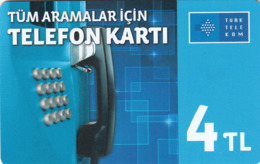TURKEY - Tüm Aramalar İçin Arama Kartı , Temmuz 2016, Incard - IN4 , 4 ₤ - Turkish Lira ,11/14, Used - Turkije