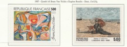 PIA  -   FRANCIA -  1987  :  Arte Di Francia - Quadri Di Bram Van Velde E Di  Eugène Boudin -  (Yv  2473-74) - Francia