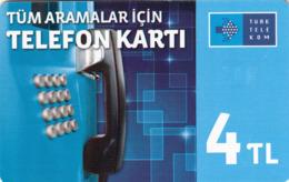 TURKEY - Tüm Aramalar İçin Arama Kartı , Kasım 2014, Gemplus - GEM5 (Red) , 4 ₤ - Turkish Lira ,06/12, Used - Turquie