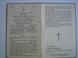 Doodsprentje Theodorus Hendrikus Magel Rekem 1890 1958 Oudstrijder 1914-18 Gepens. Rijkswachter Echt Helena Boutsen - Andachtsbilder