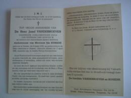 Doodsprentje Jozef Vanderhoeven Rekem 1886 Hasselt 1962 Oudstrijder 1914-18 Oud-veteraan Leopold III Echtg Ida Bunkens - Devotion Images