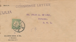 Curacao - 1917 - 5 Cent Port P22 Enkelfrankering Op Taxed Unfranked Businesscover - Curaçao, Nederlandse Antillen, Aruba