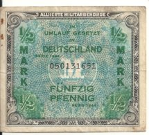 ALLEMAGNE 1/2 MARK 1944 VF - [ 9] Occupied German Territories