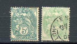 FRANCE - TYPE BLANC - N° Yvert 111 Obli. VERT & VERT-JAUNE - 1900-29 Blanc