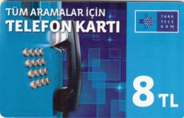 TURKEY - Tüm Aramalar İçin Arama Kartı , Şubat 2015, Gemplus - GEM5 (Red) , 8 ₤ - Turkish Lira ,09/12, Used - Turkey