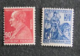 FRANCE - 1927 - YT 243 ** + 257 *  - MARCELIN BERTHELOT + JEANNE D ARC - Frankreich