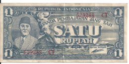 INDONESIE 1 RUPIAH 1945 VF P 17  Billet Plastifie - Indonesia