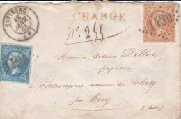 N° 22 N° 23 S / Env Chargé GC 1430 + T 15 Estissac 18 Janv 65 - Storia Postale