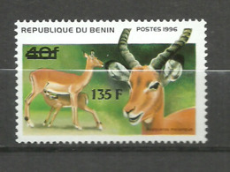 BENIN  1997 Antilopes, Impala, New Currency Overprint 1v. Perf. Rare! - Stamps