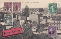 CARTE. IMPRIME. 18 4 27. PAR AVION LIGN E PARIS LYON MARSEILLE. EXPOSITION PHILATELIQUE DE TROYES.POUR NICE - Air Post